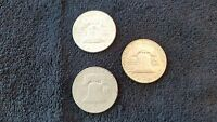 1954 1954D AND 1954S FRANKLIN SILVER HALF DOLLARS 3 COINS