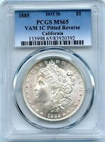 C8702- 1885 VAM-1C PITTED REVERSE HOT 50 MORGAN DOLLAR PCGS MINT STATE 65 - PCGS POP 11/3