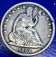 1866 SEATED LIBERTY HALF DOLLAR 50C  BETTER GRADE VF DETAILS 5733