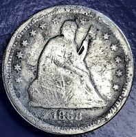 1868 S SEATED LIBERTY QUARTER 25C  DATE SAN FRANCISCO F DETAILS 5706