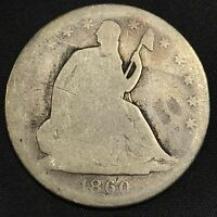 1860 SEATED LIBERTY HALF DOLLAR G BETTER DATE  COIN
