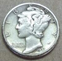 1937 MERCURY DIME STRONG DATE GREAT COLOR LOW PRICE