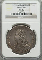 LOUIS XV ECU 1733 & MS62 NGC.