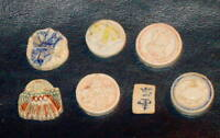COLLECTION OF 7 SIAM 1800'S THAILAND GAMING TOKEN WORLD PORCELAIN SIAMESE COIN