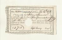 SPENCER FAMILY HEIRLOOM AND CONNECTICUT COLONIAL NOTE 1791
