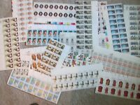 US $51.42 FACE MINT/NH POSTAGE LOT OF 13, 15, AND 20 PLATE BLOCKS/STAMPS