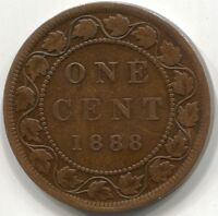 1888 NEAR 8 CANADA ONE CENT COIN