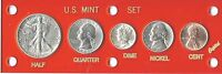 1945 D US  MINT SET   5 CHOICE BU COINS IN A RED CAPITAL LUCITE HOLDER