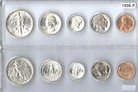 1936 P US SILVER MINT SET   5 CHOICE BU COINS IN A WHITMAN PLASTIC HOLDER