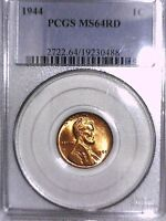 1944 P LINCOLN WHEAT CENT PCGS MS 64 RD