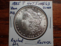 1885 CH BU HOT 50 VAM 1A2, PITTED REVERSE & CLASHED, MORGAN SILVER DOLLAR