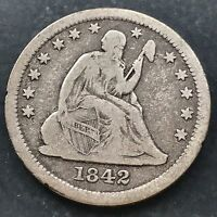 1842 O SEATED LIBERTY QUARTER 25C  DATE NEW ORLEANS 4576