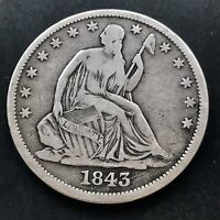 1843 O SEATED LIBERTY HALF DOLLAR 50C  DATE NEW ORLEANS 4249