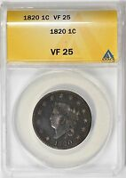 1820 CORONET HEAD LARGE CENT ANACS VF-25 SMALL DATE N-4 R-4