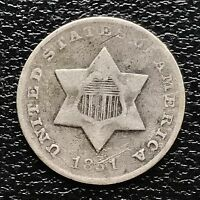 1851 O THREE CENT PIECE SILVER TRIME 3C  NEW ORLEANS MINT  5928