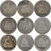 LOT OF 9 SEATED LIBERTY QUARTERS 1844   1876 CIRCULATED COMMON DATES