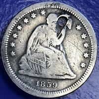 1859 S SEATED LIBERTY QUARTER 25C  DATE SAN FRANCISCO VF DETAILS 5702
