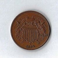 TWO CENT PIECE G VG 1864 1868 EARLY US COINAGE CIRCULATED COLLECTIBLE CONDITION