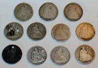 11 SEATED HALF DOLLAR 1853 1853O RAYS 1855 P 1855 O 1859 O 1867 1872 ETC.