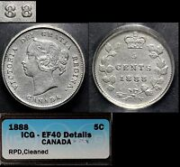 CANADA   5 CENTS   1888   REPUNCHED 8   EF40 B162