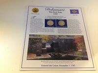 DELAWARE FIRST STATE 1787 STATEHOOD QUARTER DOLLARS PANEL 2 COIN 2 STAMP HISTORY