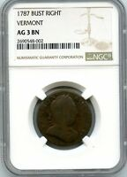 C8876- 1787 BUST RIGHT VERMONT COLONIAL NGC AG3 BN