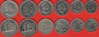 CAYMAN ISLANDS SET OF 6 COINS: 5   25 CENTS 1987 2013