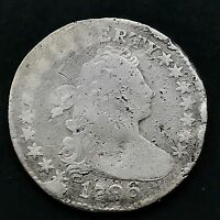 1796 DRAPED BUST DIME 10C   FIRST YEAR VG DETAILS   4139
