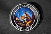 2015 $25 CANADA   WOUNDED BEAR   1 OZ. .9999 SILVER GLOW IN THE DARK PROOF COIN