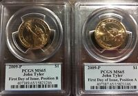 2009 P PCGS MS 65 JOHN TYLER POS A AND B  2 COINS