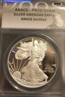 2008 SILVER EAGLE PROOF PR70 DCAM  ANACS CERTIFIED