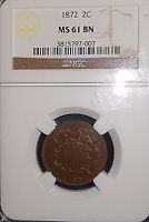 1872 2C TWO CENT PIECE NGC MINT STATE 61 BN MAGNIFICENT EVEN CHOCOLATE COLOR