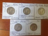 STANDING LIBERTY SILVER QUARTER 5 COINS LOT 1925 X 4 AND 1927