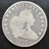 1807 DRAPED BUST HALF DOLLAR 50C  OLD,  COIN MANY DETAILS 6025