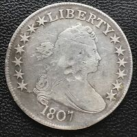 1807 DRAPED BUST HALF DOLLAR 50C  OLD,  COIN MANY DETAILS 6024