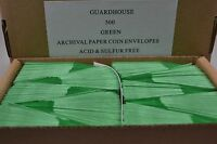 LOT OF 500 2X2 GUARDHOUSE GREEN PAPER COIN ENVELOPES