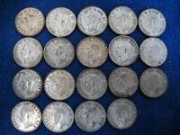LOT OF 19 CANADIAN 25 CENTS GEORGE VI   COMPLETE DATE SET      80  SILVER COINS