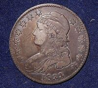 1833 50C OVERTON 101 CAPPED BUST HALF DOLLAR  NICE NATURAL TONE