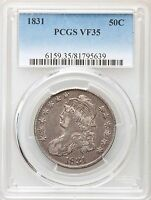 1831 PCGS VF35 CAPPED BUST SILVER HALF DOLLAR OVERTON   TYPE COIN