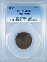 1864 LARGE MOTTO TWO CENT AU-58 PCGS CERTIFIED