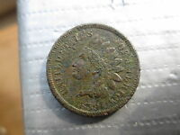 1859 INDIAN HEAD VARIETY 1, FIRST YEAR MADE, LIBERTY MOSTLY VISIBLE, GOOD TO VG