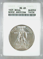 1925 SILVER NORSE MEDAL THICK MINT STATE 65 ANACS