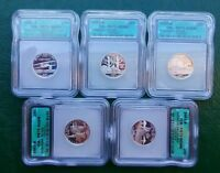 6 SILVER PROOF 70 DCAM 5 QUARTER SETS 30 COINS 2001 2002 2003 2004 2005 2006 ICG