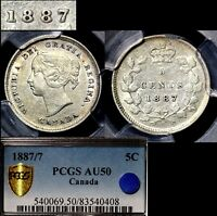 ELITE COINS   5 CENTS   1887 STRONG REPUNCHED 7   AU50 PCGS REGISTRY  LX061