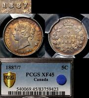 ELITE COINS   5 CENTS   1887 STRONG REPUNCHED 7   EF45 PCGS REGISTRY  LX062
