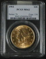 Click now to see the BUY IT NOW Price! 1904 $20 LIBERTY HEAD DOUBLE EAGLE GOLD COIN PCGS MS62