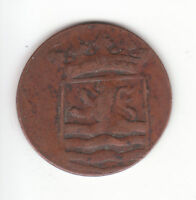 1786 DUTCH NEW YORK PENNY ZEELAND ARMS 1 DUIT COLONIAL COIN.