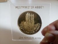 WESTMINSTER ABBEY 22K GOLD PLATED COMMEMORATIVE COIN IN CASE