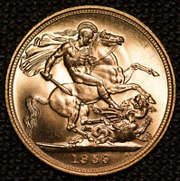 1959 GOLD SOVEREIGN   ELIZABETH II YOUNG HEAD