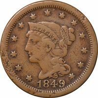 1849 LARGE ONE CENT BRAIDED HAIR LIBERTY F/VF